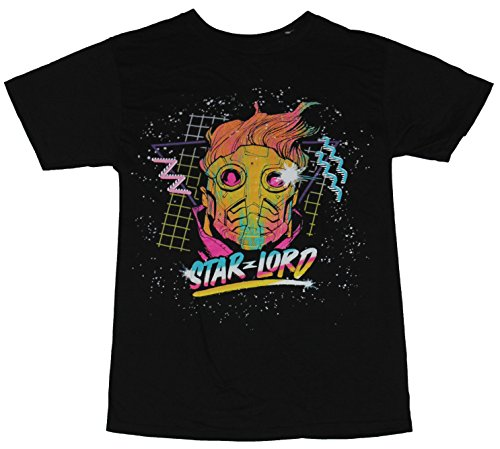 [Guardians of Galaxy Mens T-Shirt - Starlord 80s Style Pastel Neon Face Image (Large) Black] (80s Style Men)