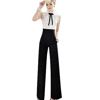 photos officielles cc445 d6298 Winwintom Pantalon Large Nouveau Femmes Casual Taille Haute Flare Pantalon  Longue Pantalon Long Palazzo Noir