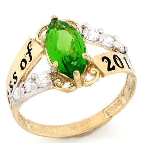 Ring Class 10k (10k Gold Simulated Peridot August Birthstone 2018 Class Graduation Ring)
