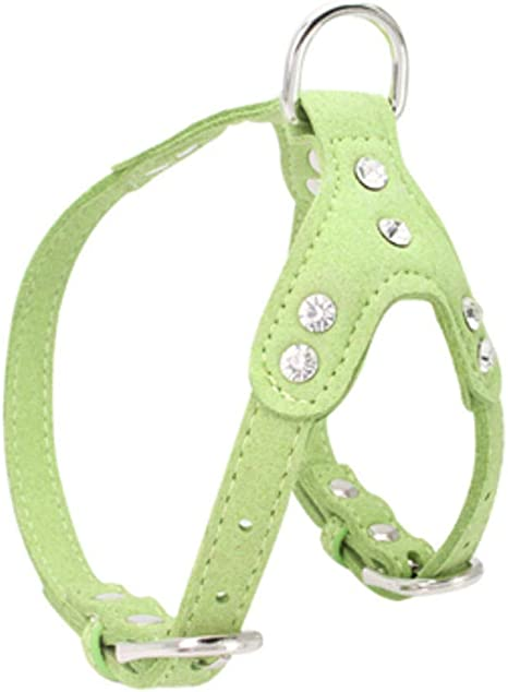 Luckyoiu Shiny Rhinestone Dog Arnés PU Leather Pet Arneses Collar ...