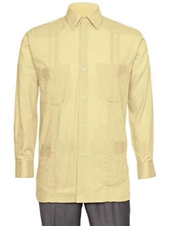 78107e0b14 Gentlemens Collection Mens Linen Look Guayabera Shirt - Long Sleeve Cuban  Shirt at Amazon Men s Clothing store