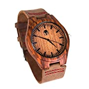 Amazon Lightning Deal 87% claimed: Viable Harvest - Men's Wood Watch - Wooden Bamboo Dial - Sandalwood Bezel - Genuine Leather - Gift box