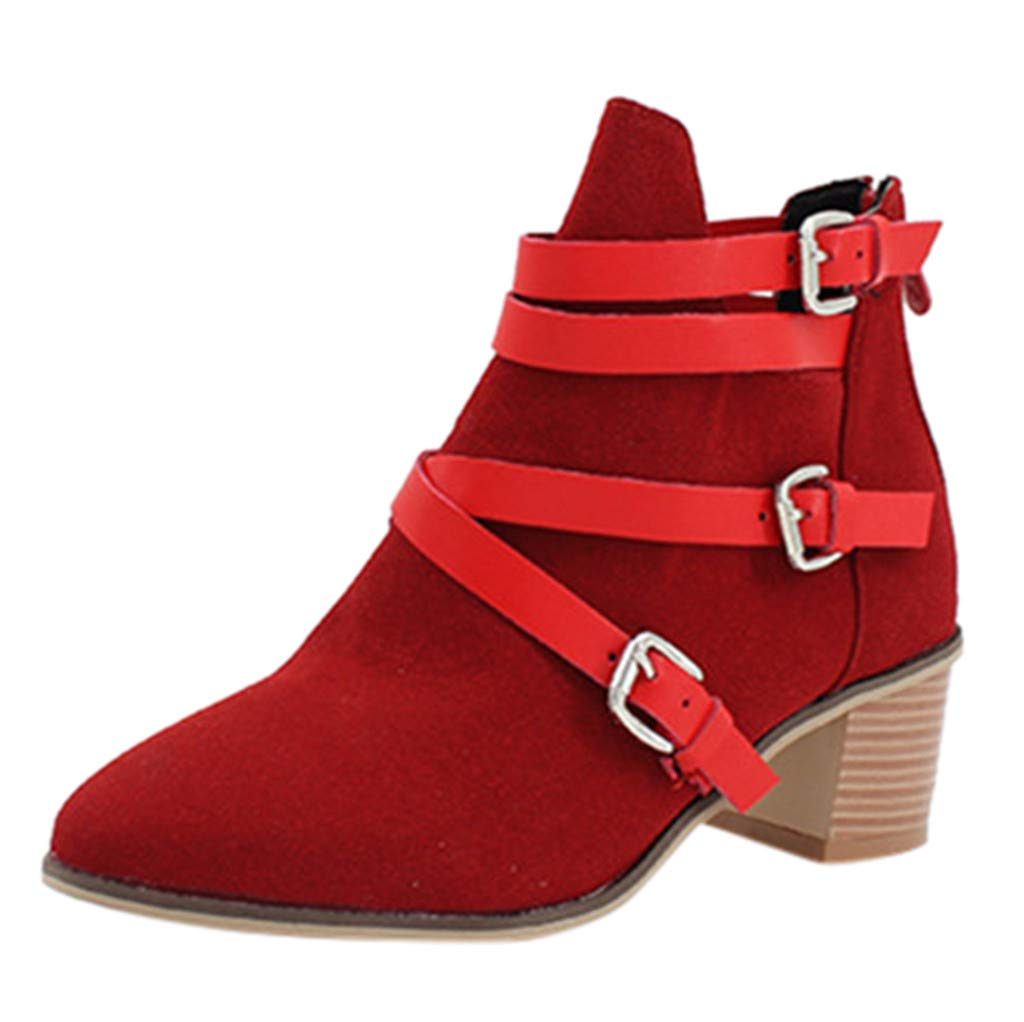 Dermanony Womens Buckle Strap Ankle Boots Winter Flock Square Heels Boots Zipper Pure Color Pointed Toe Short Boots Red by Dermanony _Shoes