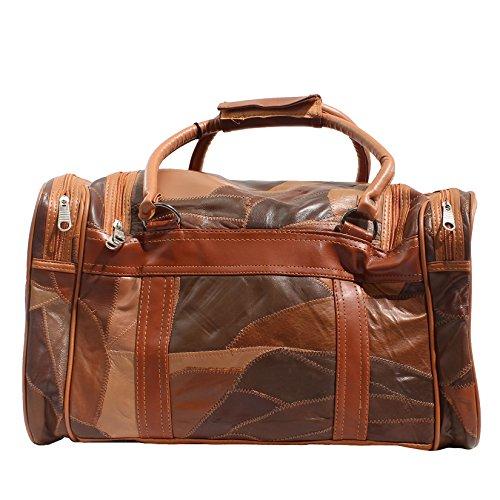 CTM Unisex bolsa de viaje de cuero con correa para el hombro interior - 46x26x20 Cm Cuero