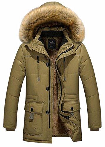 Fur Jacket TTYLLMAO Warm Khaki Coats Loose Faux Casual Down Outwear Hooded Mens qfqzT6FE