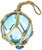 Hampton Nautical Light Blue Japanese Glass Ball Fishing Float with Brown Netting Decoration Christmas Ornament, 3''