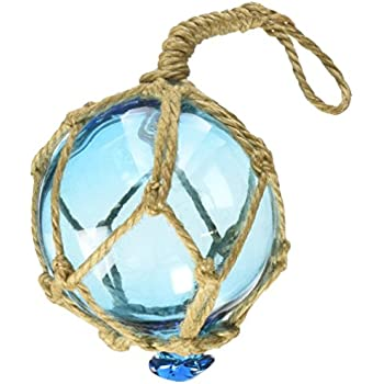 Hampton Nautical Light Blue Japanese Glass Ball Fishing Float with Brown Netting Decoration Christmas Ornament, 3""