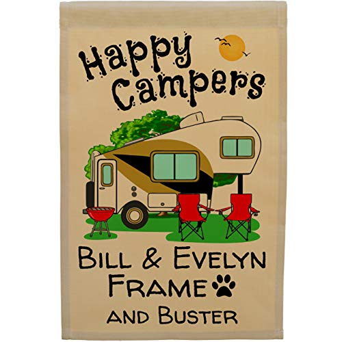 Happy Campers Personalized 5th Wheel Campsite Sign, Garden Flag, Customize Your Way, Flag Only ()