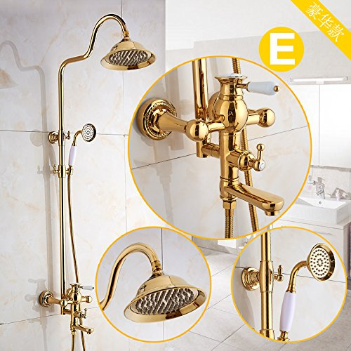 E GFEI gold Antique shower nozzle set   European style all copper bath, hot and cold shower faucet, American style gold-plated,M