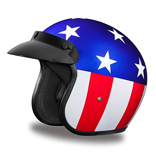 DOT Captain America Open Face Motorcycle Helmet -