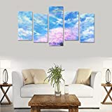 Hotel or Spa Wall Decorations Cherry blossom cloud, original petals, rainbow Rooms Wall Paintings Living Room Canvas Prints Fashion Personalities Decor 5 Piece Canvas painting (No Frame)