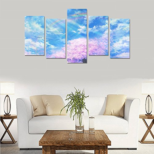 Hotel or Spa Wall Decorations Cherry blossom cloud, original petals, rainbow Rooms Wall Paintings Living Room Canvas Prints Fashion Personalities Decor 5 Piece Canvas painting (No Frame) by sentufuzhuang Canvas Printing