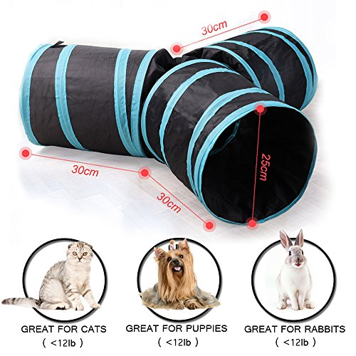 Aolan Cat Tunnel 3 Way Tunnels Extensible Collapsible Cat Play Tunnel Toy Maze Cat House with Pompon and Bells for Cat Puppy Kitten Rabbit with Cat Fish Catnip Toy by pawluv (Image #1)