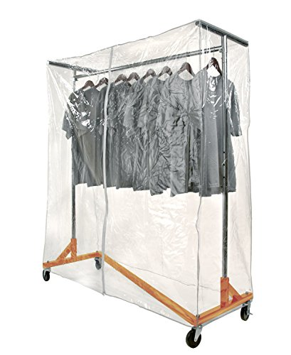 Only Garment Racks Z Rack Complete with Cover Supports & Clear Vinyl - Wardrobe Rack Aluminum