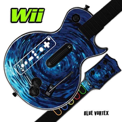 (Skin Decal Cover for GUITAR HERO 3 III Nintendo Wii Les Paul - Blue Vortex)