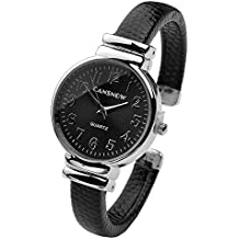 Top Plaza Women Casual Chic Simple Arabic Numeral Bangle Cuff Watch for Small Wrist,Thanksgiving Christmas Xmas Gift,Black