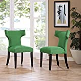Modway Curve Mid-Century Modern Upholstered Fabric Two Dining Chair Set With Nailhead Trim In Kelly Green Review