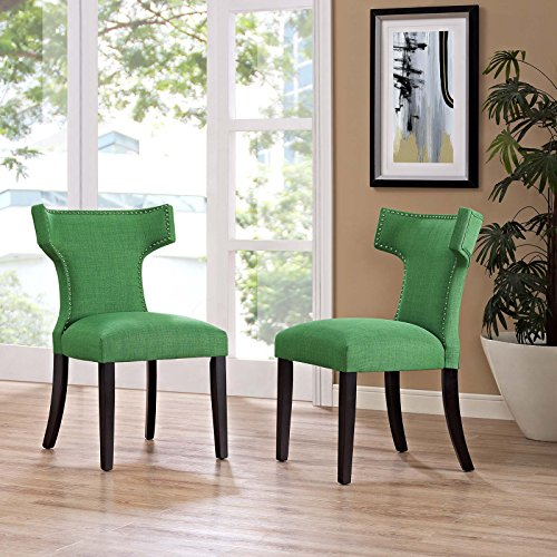 Modway Curve Mid-Century Modern Upholstered Fabric Two Dining Chair Set With Nailhead Trim In Kelly Green