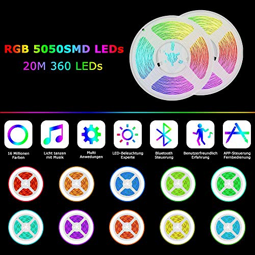LED Strip Lights, 65.6FT 20m RGB 5050 LEDs Color Changing Tape Light Full Kit with 40 Keys Remote Control and Power Supply Mood Lamp for Room Bedroom Party Home Kitchen Indoor Decoration (32.8ftX2)