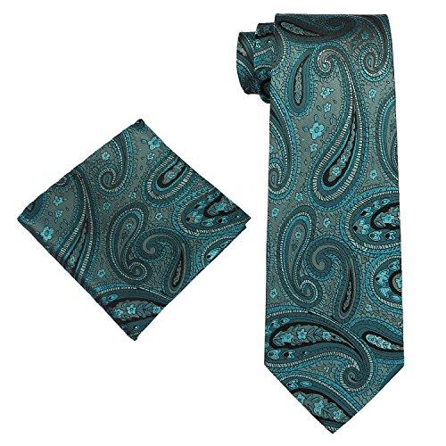 40l Paisley SILK Blue Tie Hanky Set Mens Hanky Teal Tie SILK Various Landisun 7wpz7