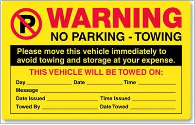 """No Parking Stickers, 5"""" x 8"""", Warning...This Vehicle"""