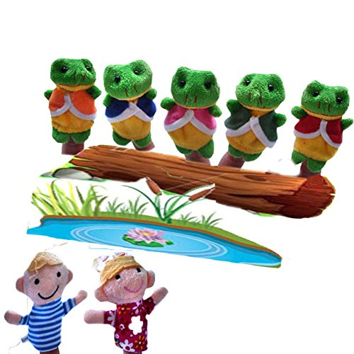 (CHUANGLI Story Animals 7Pcs Frog Doll World Sack Bag Finger Puppets Nursery Rhyme Fairy Tale )