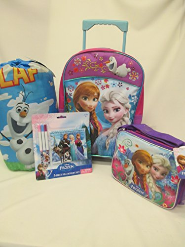 "Frozen Disney Large 16"" Rolling Wheeled Backpack, Lunchbox & Pencil Pouch!"