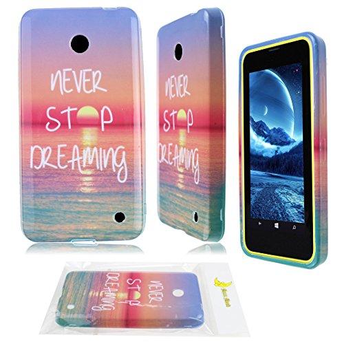 Moon mood® Zurück Schutzhülle für Nokia Lumia 630 (4.5 Zoll) Hülle aus Weich Silikagel TPU Material mit Bunte Malerei Handytasche (Gold Abendrot Blau Himmel Blaugrün Meer)