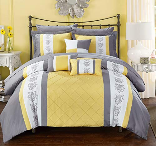 Hemau Premium New Soft 10 Clayton Pintuck Pieced Color Block Embroidery King Bed in a Bag Comforter Yellow with Sheet Set | Style 503196438