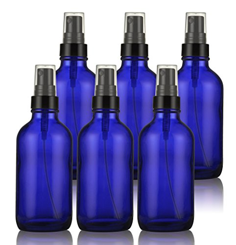 Glass Spray Bottles - Empty Spray Bottle with Atomizer Pumps - for Essential Oils, Travel, Perfumes , & More - Refillable & Reusable - Cobalt Blue Color - Protect Against UV Light - 6 Pack - 4 oz.