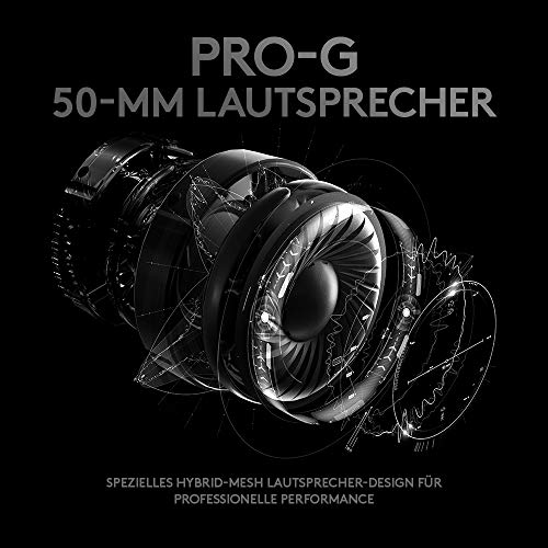schwarz komfortabel und strapazierf/ähig mit PRO-G 50-mm-Lautsprechern, Aluminium, Stahl und Memory Foam, f/ür PC, PS4, Switch, Xbox One, VR Logitech G PRO Gaming-Headset 2. Generation
