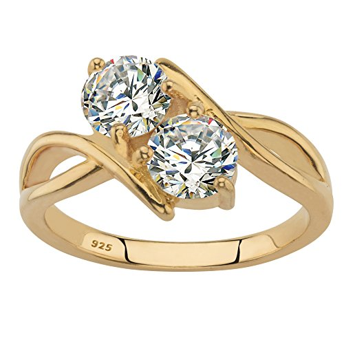 14K Yellow Gold over Sterling Silver Round Cubic Zirconia 2-Stone Bypass Ring Size 8 (Two Bypass Stone Ring)