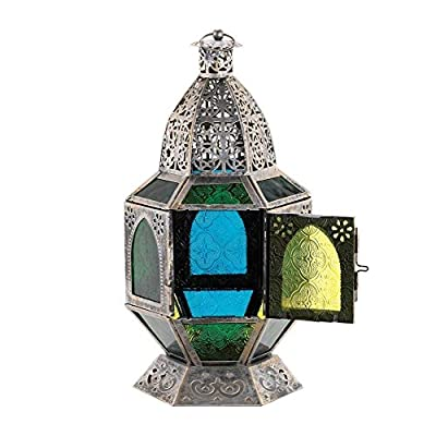 Basilica Moroccan Candle Lantern Burnished Silver With Green Glass