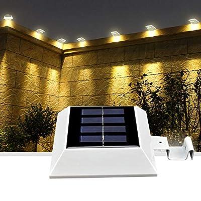 Solar Deck Lights with Motion Sensor, YUMAMEI Solar Garden Lights Warm White, Front Door Corridor Lighting, Solar Gutter Lights, Solar Landscape Lights, Security Lamps for Railing Roof Eaves Stairs