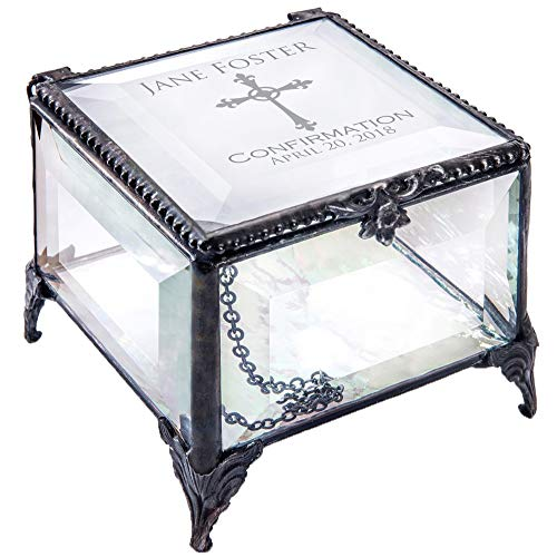 J Devlin Confirmation Keepsake Box Personalized Christian Religious Gift Engraved Stained Glass EB221 (Clear Beveled)