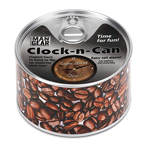 DEMDACO Coffee Break Clock-n-Can Silver Tone 4 x 4 Metal and Magnet Desk Clock