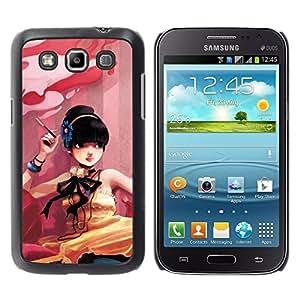TopCaseStore / la caja del caucho duro de la cubierta de protección de la piel - Cute Smoking Girl - Samsung Galaxy Win I8550 I8552 Grand Quattro