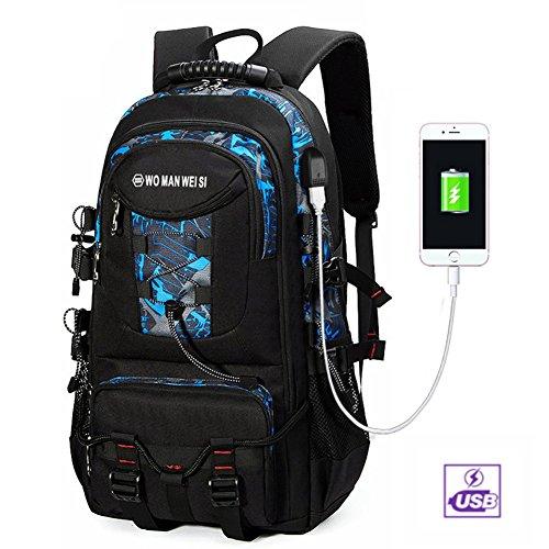 Rucksack Herren mit USB Canvas Outdoor Laptop Rucksack 15,6 zoll 1Smile Sport Backpack Multifunktionales Paket Traveling Camping Rucksäcke Blau grau