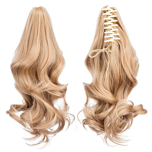 SWACC Short Cute Curly Claw Clip Ponytail Extension Synthetic Clip in Ponytail Hairpiece Jaw Clip Hair Extension (Beige Blonde-25#) - Pony Yaki Braids