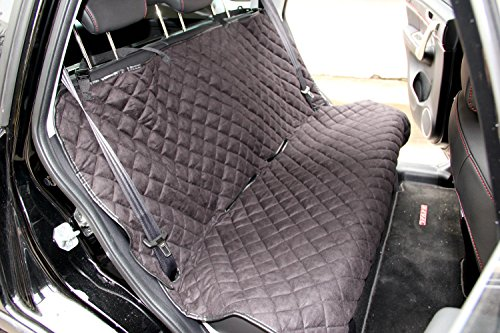 Homeyone Anti-Slip Microsuede Waterproof Diamond Quilted Dog Pet Travel Bench Back Seat Cover Protector Washable (Black)