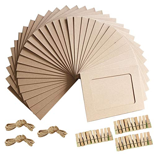Paper Photo Frame 4x6 Kraft Paper Picture Frames 30 PCS DIY Cardboard Photo Frames with Wood Clips and Jute Twine (BROWN)