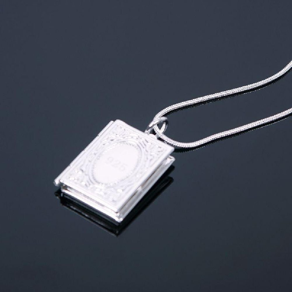Trod silver square book design photo picture locket pendant od silver square book design photo picture locket pendant necklace long chain amazon beauty aloadofball Gallery