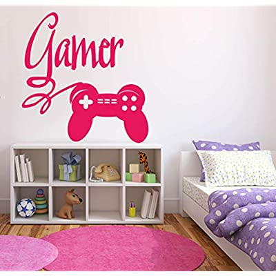 Girl Gamer Video Game Wall Decals Controller Stickers Home Decor Customize for Kids Bedroom Vinyl Wall Art VG035: Baby