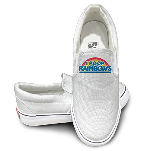 [EWIED Unisex Classic Rainbow I Poop Rainbows 5 Slip-On Shoes White Size37] (Lady Thor Costumes)