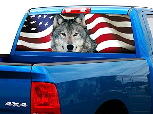 Sliding Ranger Window - P427 Wolf American Flag Tint Rear Window Decal Wrap Graphic Perforated See Through UNIVERSAL SIZE 65