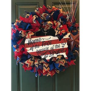 "Patriotic Wreath 25"" Large 4th of July Wreath Burlap Red White and Blue Home of the Free Because of the Brave 104"