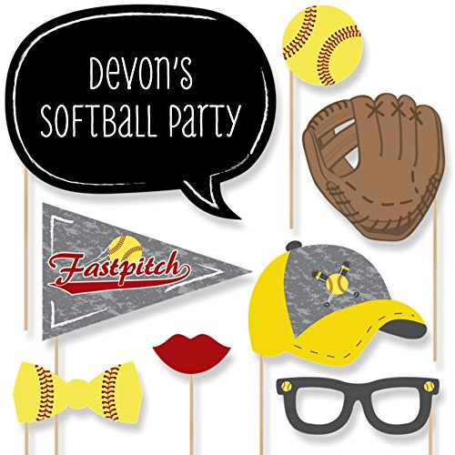Custom Grand Slam - Fastpitch Softball - Photo Booth Props - Personalized Birthday Party or Baby Shower Supplies - 20 Selfie Props