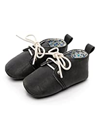 HONGTEYA Baby Girls Boys Soft Sole Moccasins - Lace up Snow Boots Toddlers Sneakers Crib Winter Shoes
