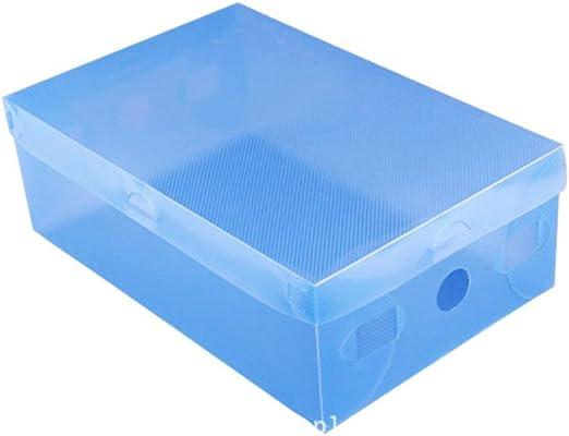 kentop Zapatos Caja Rodamiento de buzón Buzón Caja transparente plegable caja de zapatos para guardar botas plana, plástico, azul, 27,5×18×9,5 cm: Amazon.es: Hogar