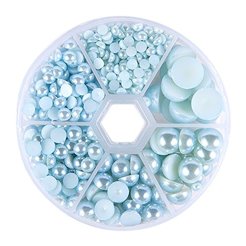 PandaHall Elite 1 Box About 690 Pcs Aquamarine Assorted Mixed Sizes 4-12mm Flat Back Pearl Cabochons ()